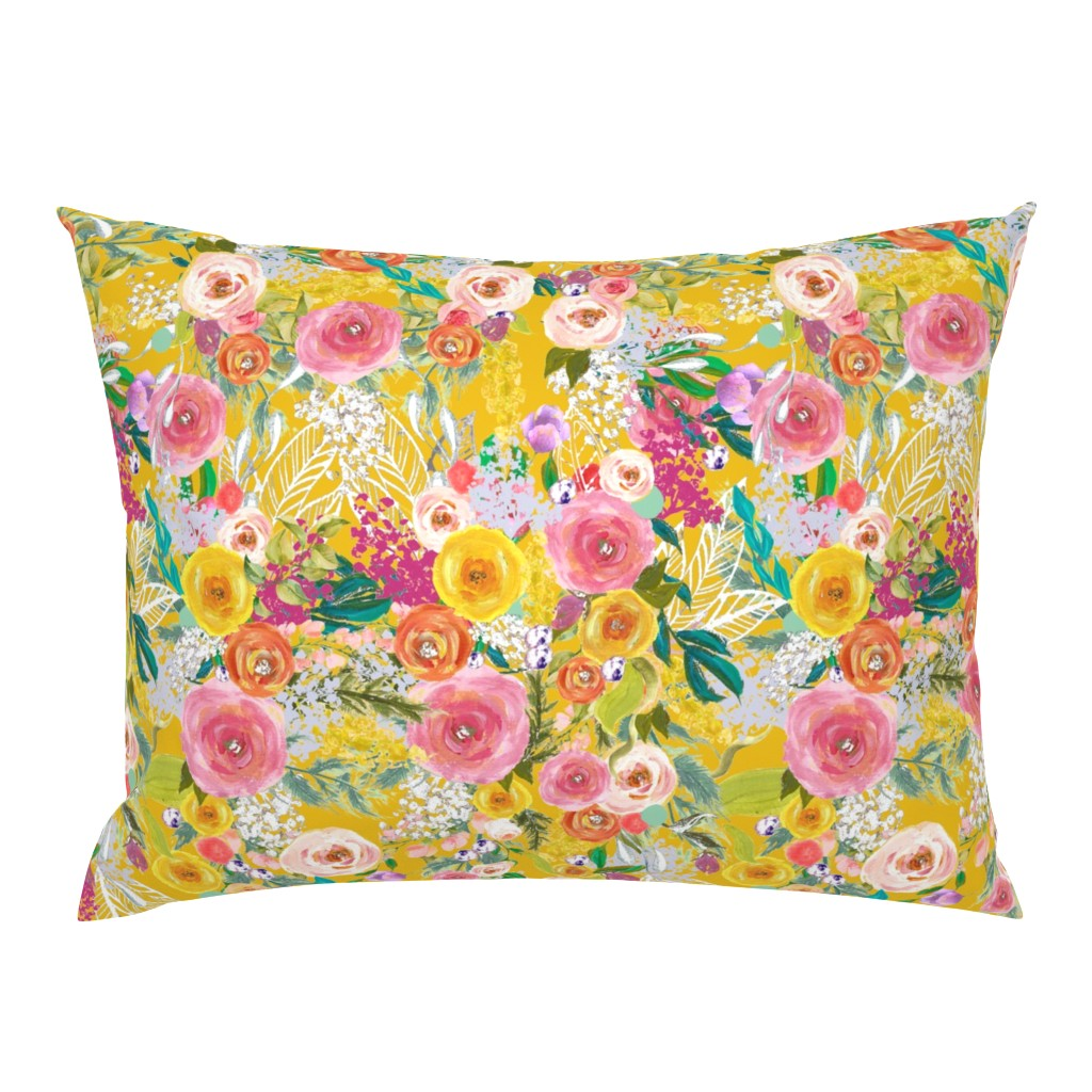 Campine Pillow Sham featuring Autumn Blooms Painted Floral // Mustard by theartwerks