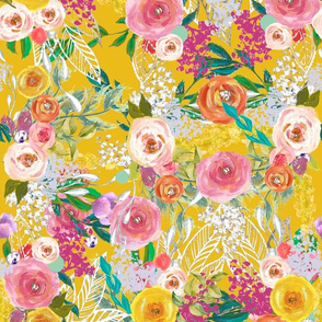 Autumn Blooms Painted Floral // Mustard