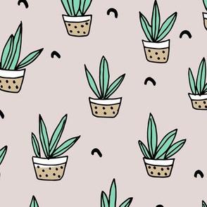 Pop culture series aloe vera green home garden plants and pots illustration print design gender neutral beige
