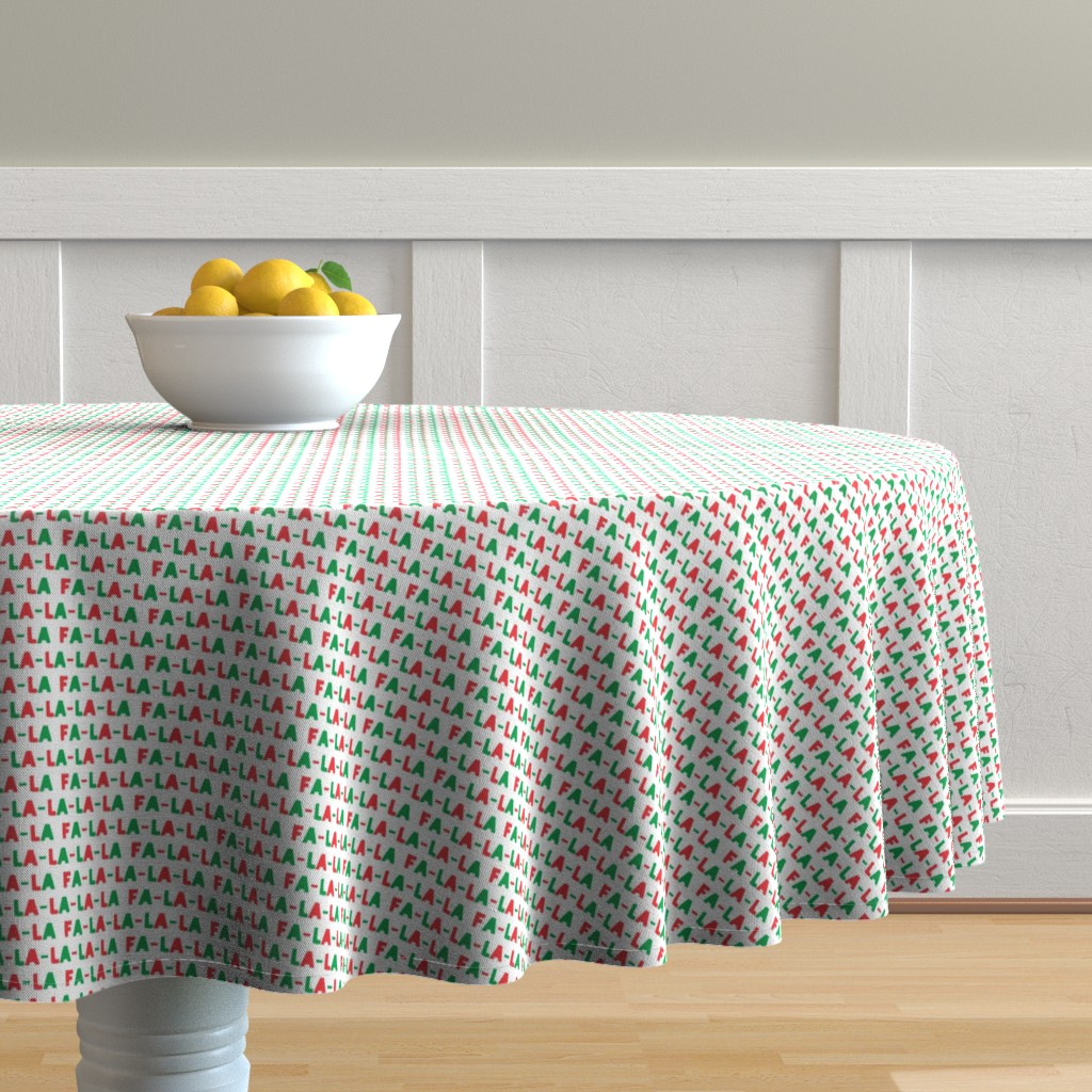 Malay Round Tablecloth featuring (small scale) FA-LA-LA-LA-LA - red and green - holiday fabric by littlearrowdesign