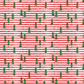 (small scale) watercolor trees on stripes - green on red