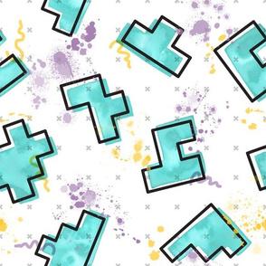 Memphis Meets Tetris Watercolor // tetris geometric shapes memphis design splatters aqua teal green fabric