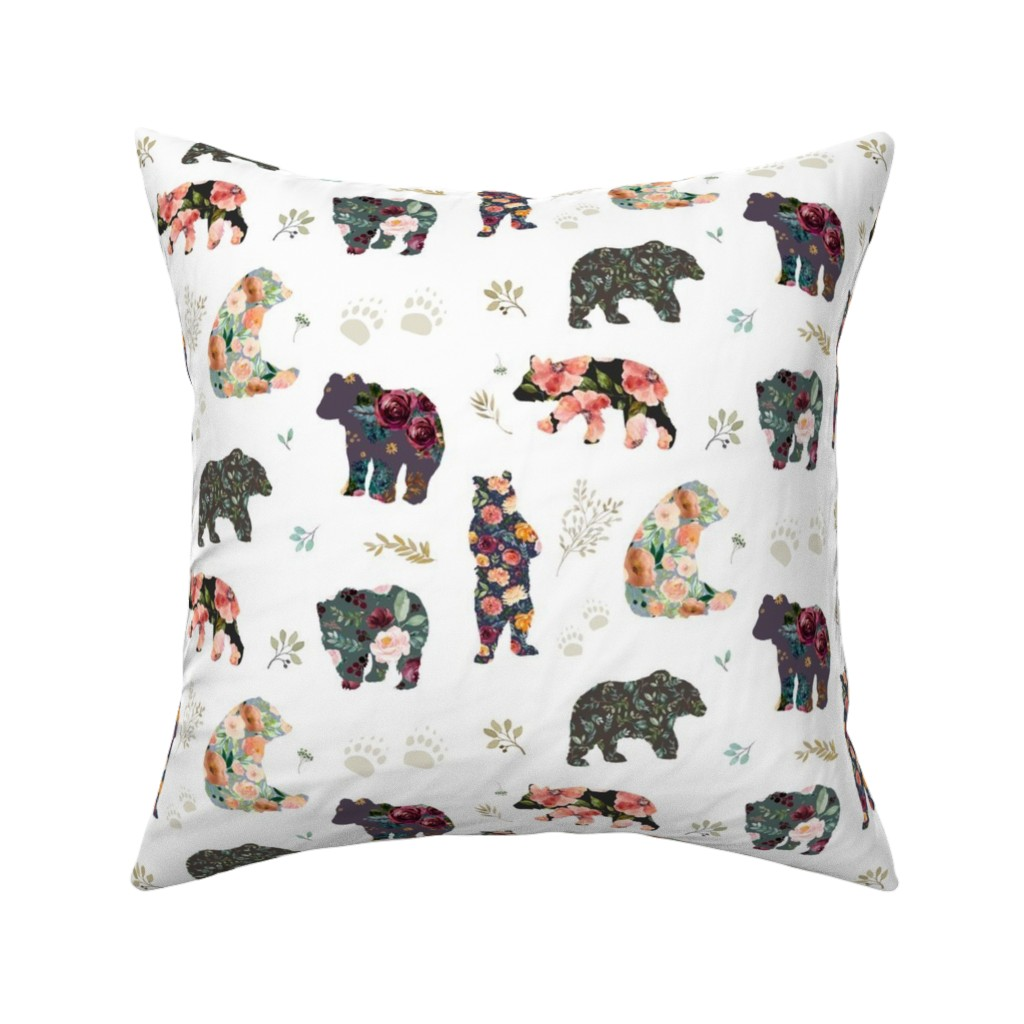 "Catalan Throw Pillow featuring 8"" PATCHWORK BEARS / FLORAL by shopcabin"