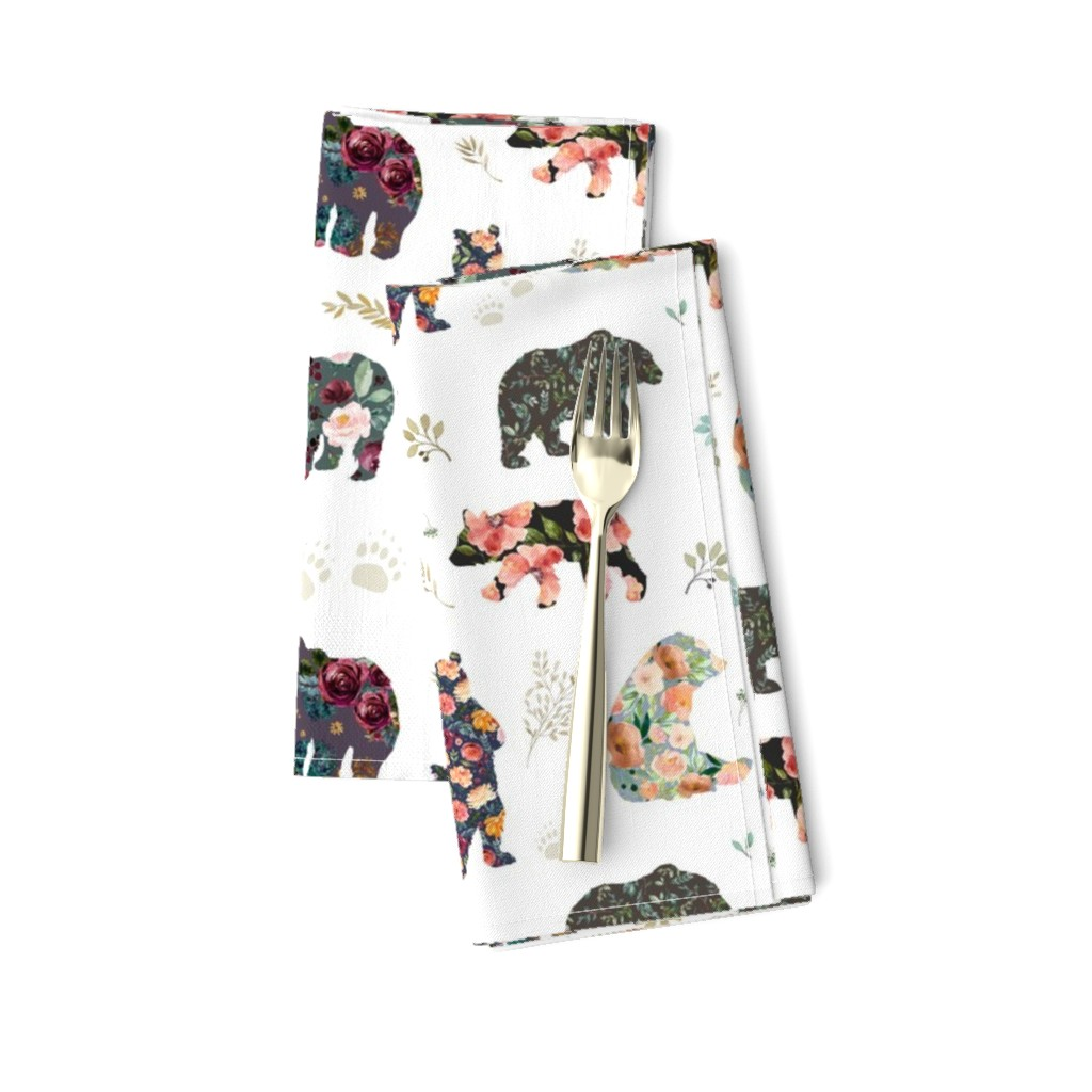 "Amarela Dinner Napkins featuring 8"" PATCHWORK BEARS / FLORAL by shopcabin"