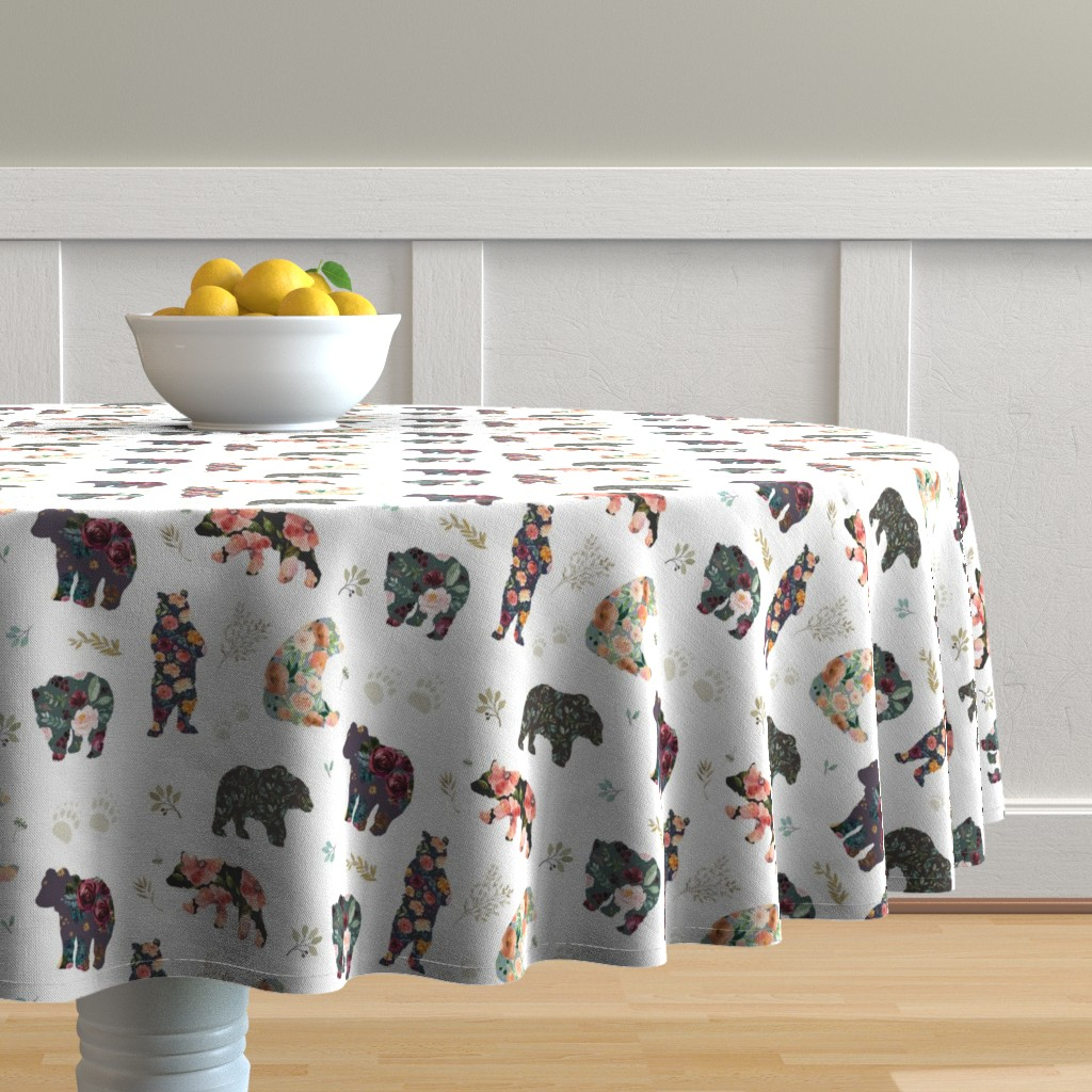 "Malay Round Tablecloth featuring 8"" PATCHWORK BEARS / FLORAL by shopcabin"