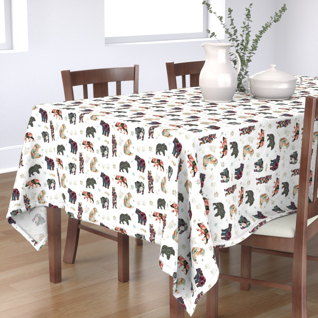 """Bantam Rectangular Tablecloth featuring 8"""" PATCHWORK BEARS / FLORAL by shopcabin"""
