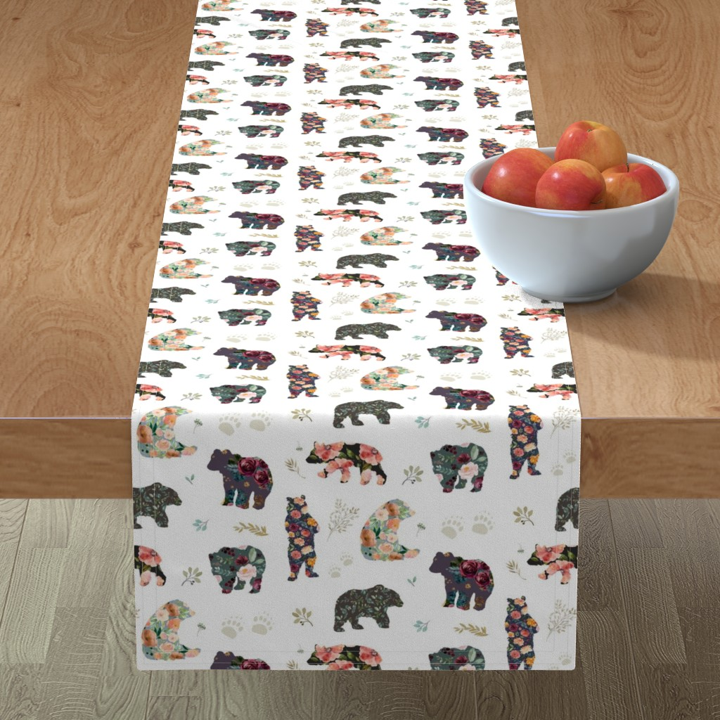 "Minorca Table Runner featuring 8"" PATCHWORK BEARS / FLORAL by shopcabin"