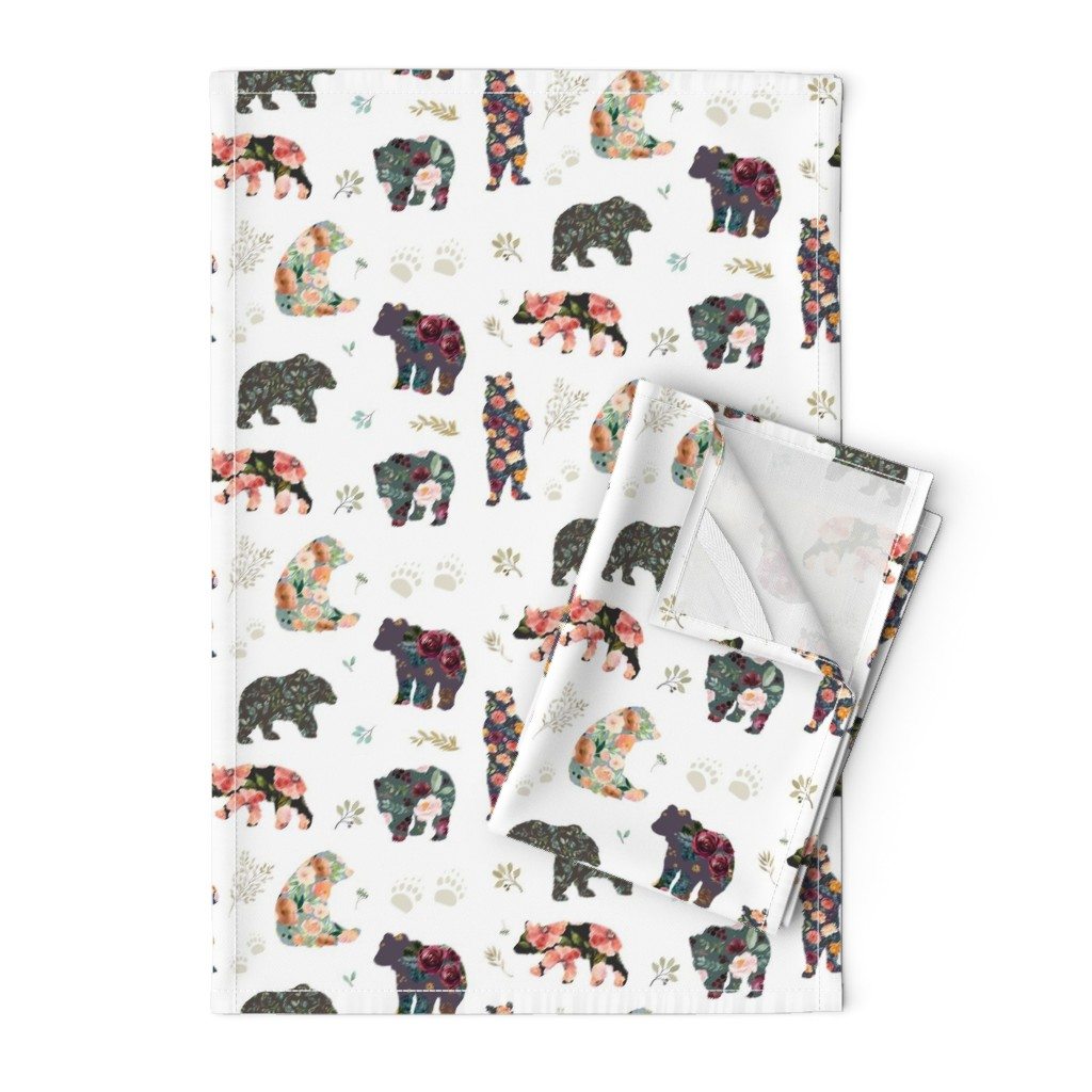 "Orpington Tea Towels featuring 8"" PATCHWORK BEARS / FLORAL by shopcabin"