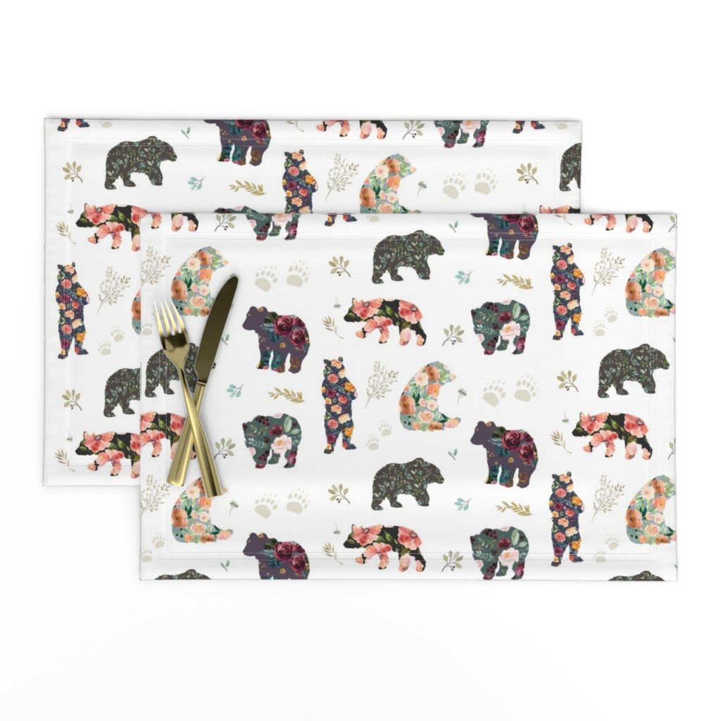 """Lamona Cloth Placemats featuring 8"""" PATCHWORK BEARS / FLORAL by shopcabin"""