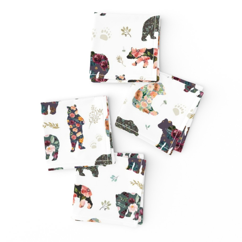 """Frizzle Cocktail Napkins featuring 8"""" PATCHWORK BEARS / FLORAL by shopcabin"""