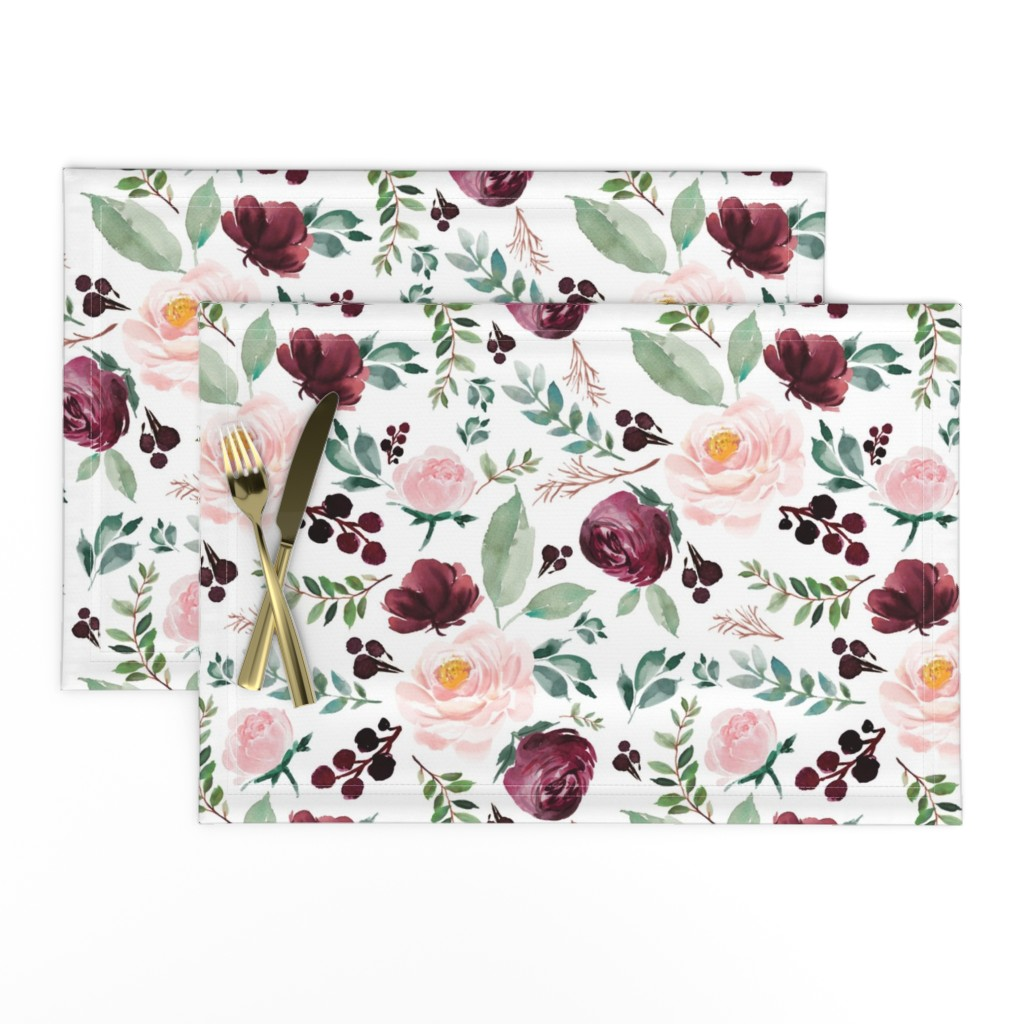 """Lamona Cloth Placemats featuring 12"""" Wild at Heart Florals / White by shopcabin"""
