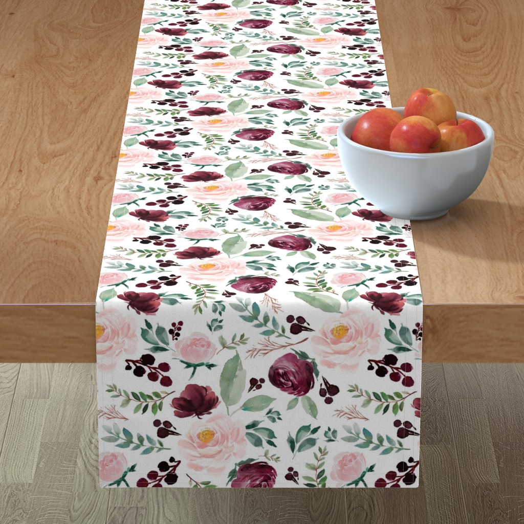 """Minorca Table Runner featuring 12"""" Wild at Heart Florals / White by shopcabin"""