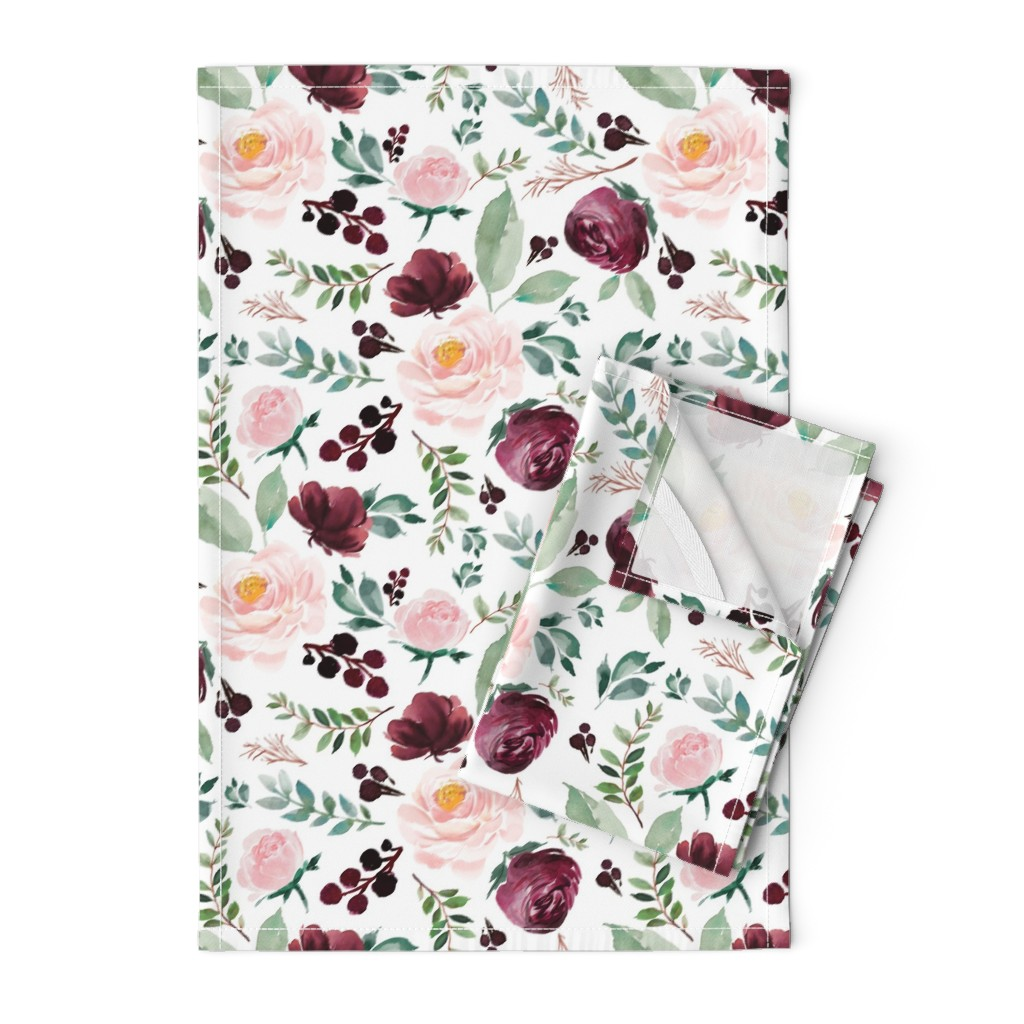 "Orpington Tea Towels featuring 12"" Wild at Heart Florals / White by shopcabin"