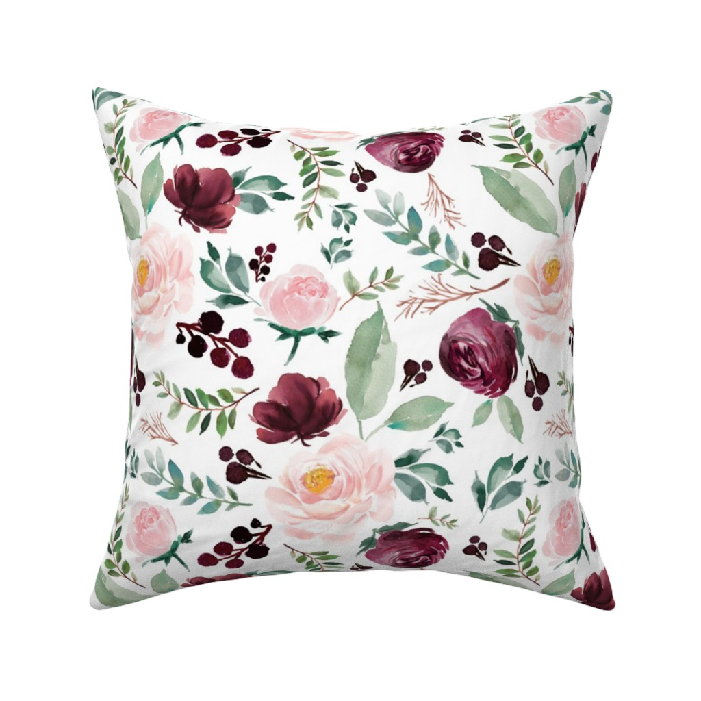 "Catalan Throw Pillow featuring 12"" Wild at Heart Florals / White by shopcabin"