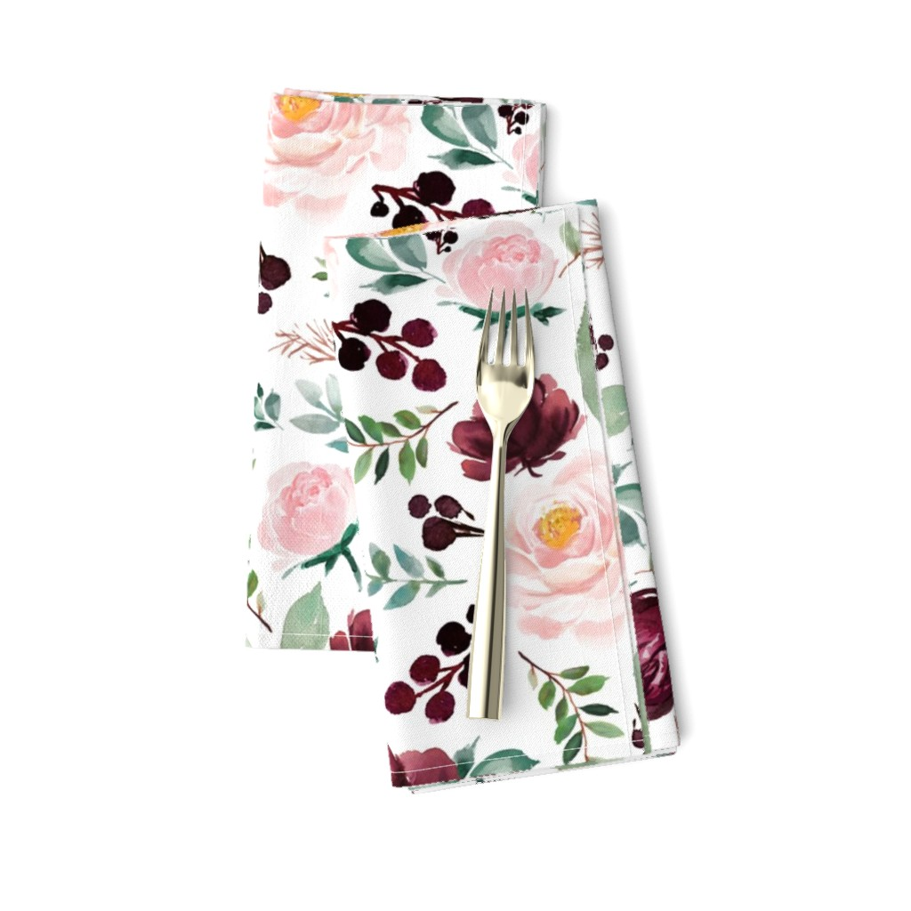 """Amarela Dinner Napkins featuring 12"""" Wild at Heart Florals / White by shopcabin"""