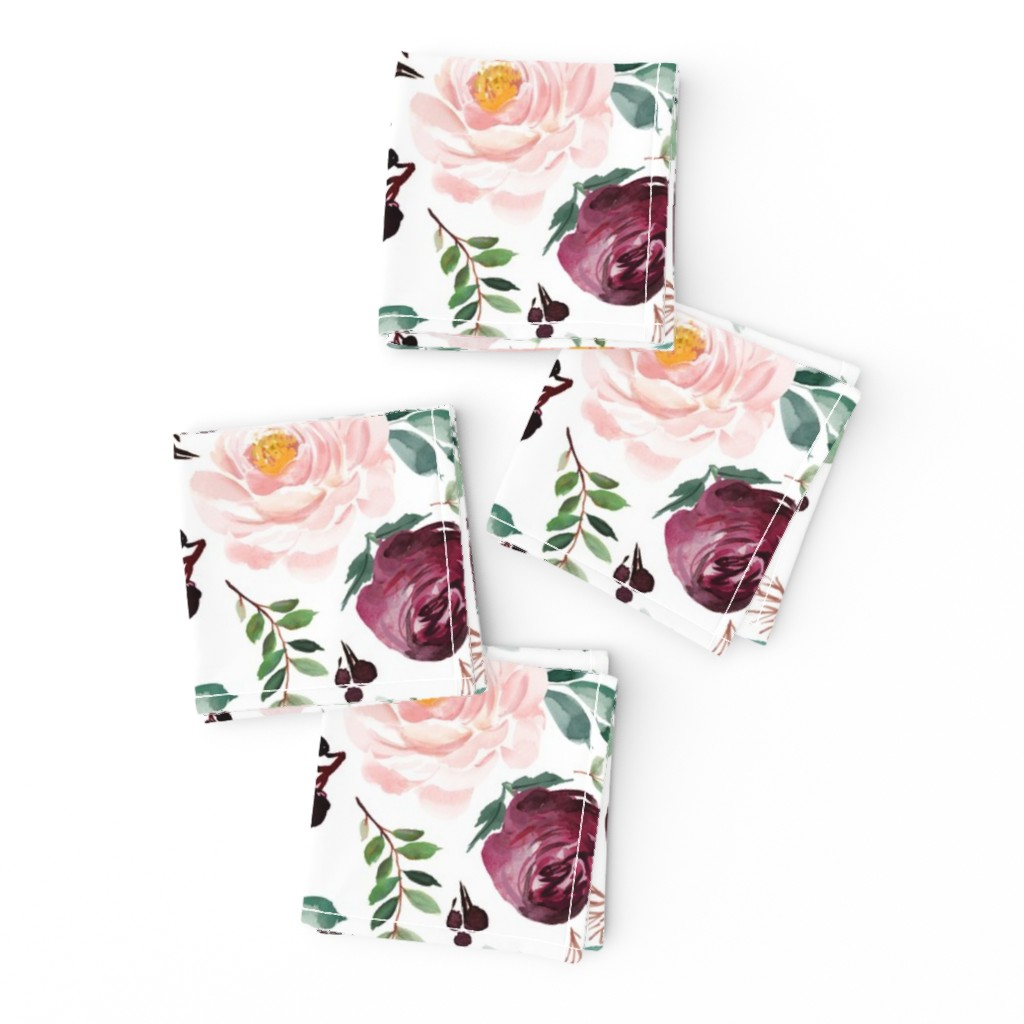 """Frizzle Cocktail Napkins featuring 12"""" Wild at Heart Florals / White by shopcabin"""