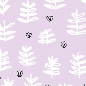 Pop culture series green home garden plants leaves illustration print design violet lavender