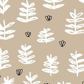 Pop culture series green home garden plants leaves illustration print design beige