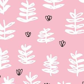 Pop culture series green home garden plants leaves illustration print design pink girls