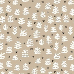 Pop culture series green home garden plants leaves illustration print design beige SMALL