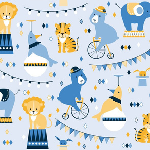 Circus animals yellow and blue