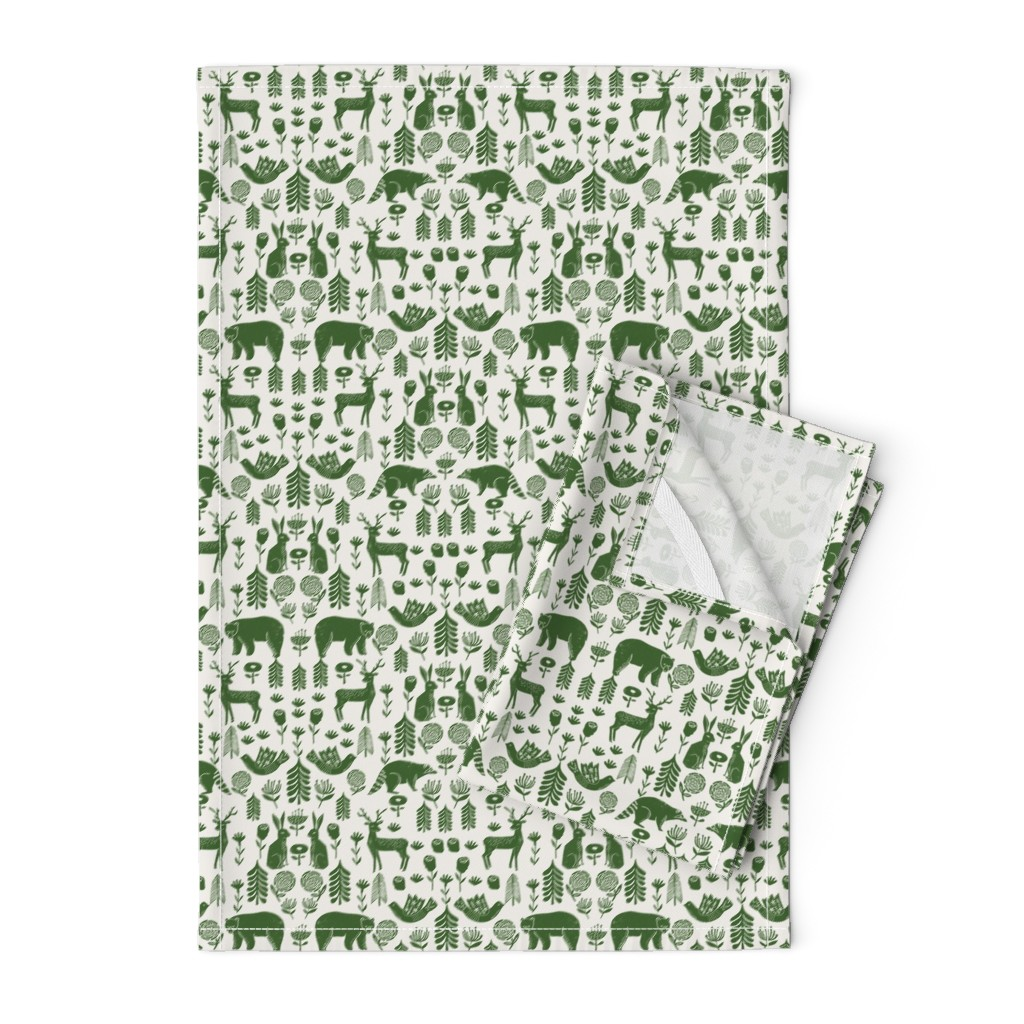Orpington Tea Towels featuring Christmas folk scandinavian winter holiday forest animals green by andrea_lauren