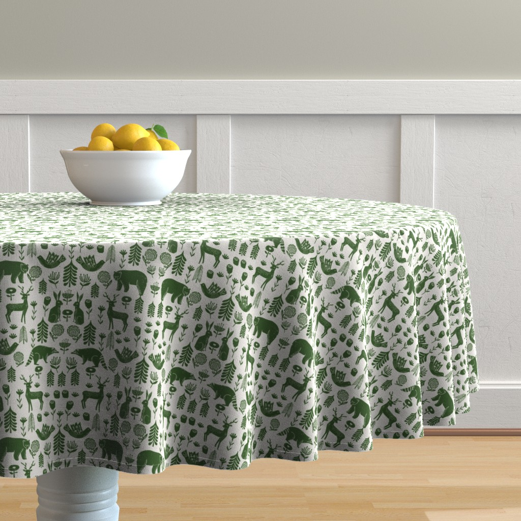 Malay Round Tablecloth featuring Christmas folk scandinavian winter holiday forest animals green by andrea_lauren