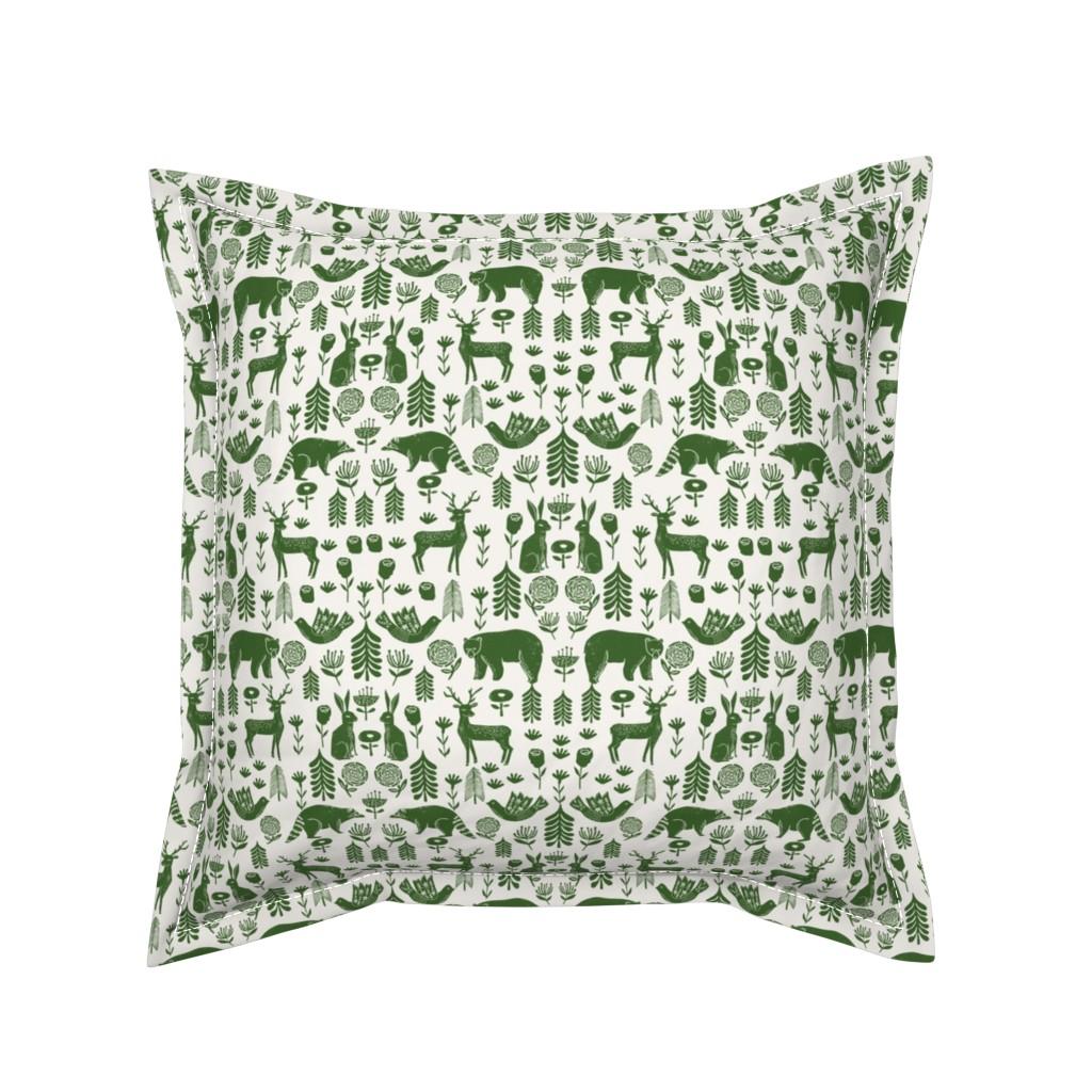 Serama Throw Pillow featuring Christmas folk scandinavian winter holiday forest animals green by andrea_lauren