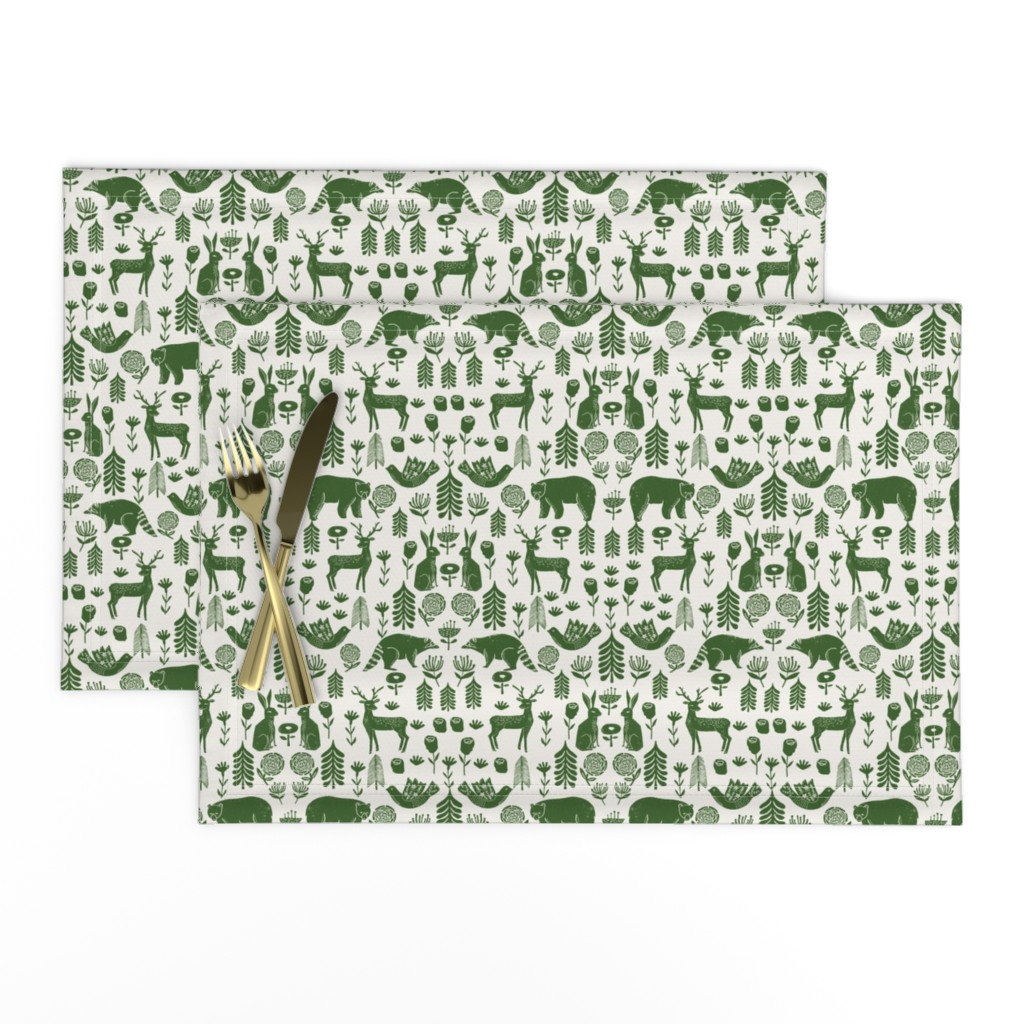 Lamona Cloth Placemats featuring Christmas folk scandinavian winter holiday forest animals green by andrea_lauren