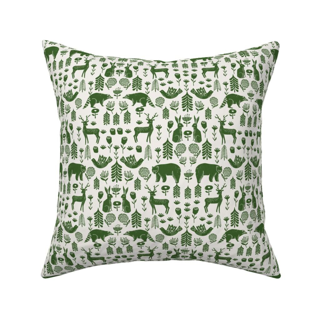 Catalan Throw Pillow featuring Christmas folk scandinavian winter holiday forest animals green by andrea_lauren
