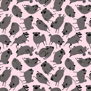 Pugs in Action - black pugs on light pink