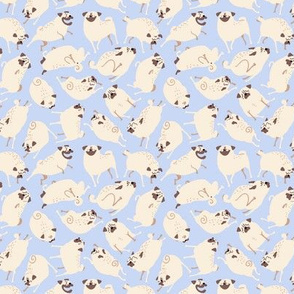Pugs in Action - powder blue