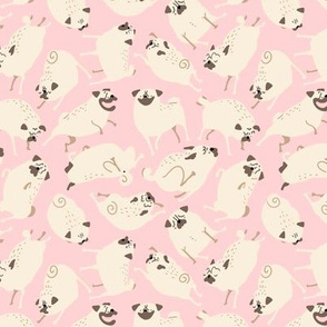 Pugs in Action - pink