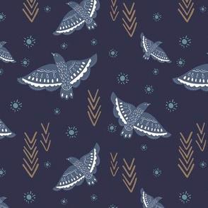 Navy Birds Aztec Arrows
