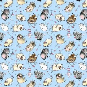 Cupid Pugs - blue