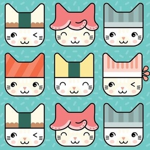 Sushi Cat Hats in Blue