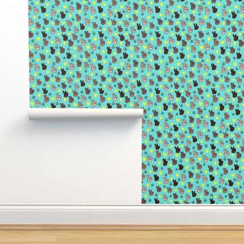 Wallpaper Pop Culture Memphis Series Hand On Peace And Love Blue