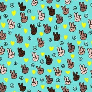 Pop culture memphis series hand on peace and love blue