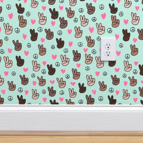 Wallpaper Pop Culture Memphis Series Hand On Peace And Love Mint Pink