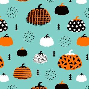 Sweet fall inky texture pumpkin picking autumn garden halloween gourds print blue orange