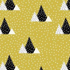 Snow fall winter wonderland triangle mountains abstract christmas print mustard yellow