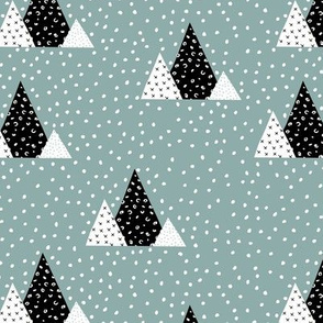 Snow fall winter wonderland triangle mountains abstract christmas print gray