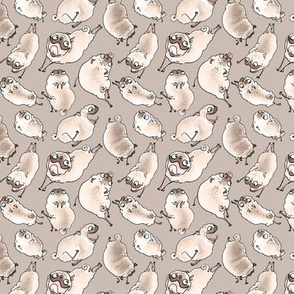 Leaping Pugs - taupe