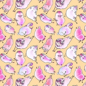 Leaping Pugs - pink pugs on butter