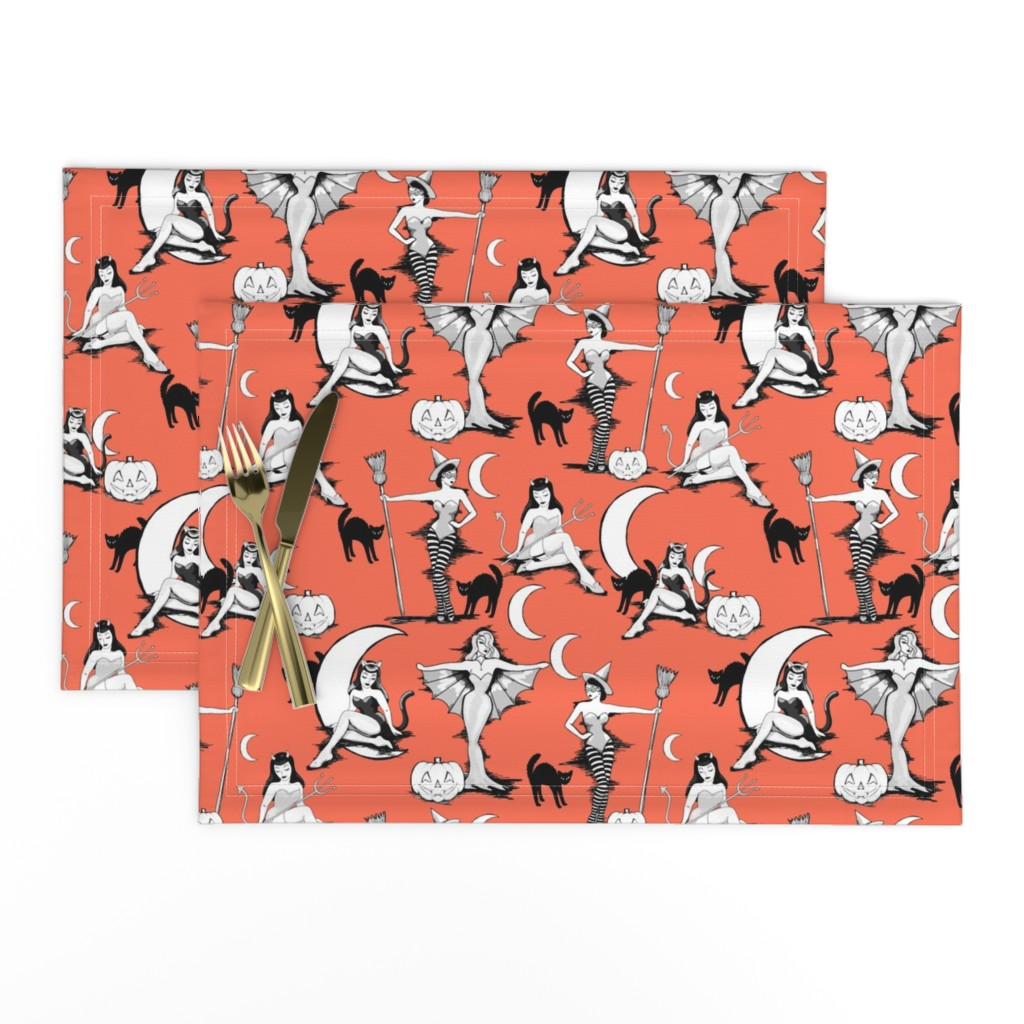 Lamona Cloth Placemats featuring Vintage Halloween pinups in pumpkin orange by beesocks