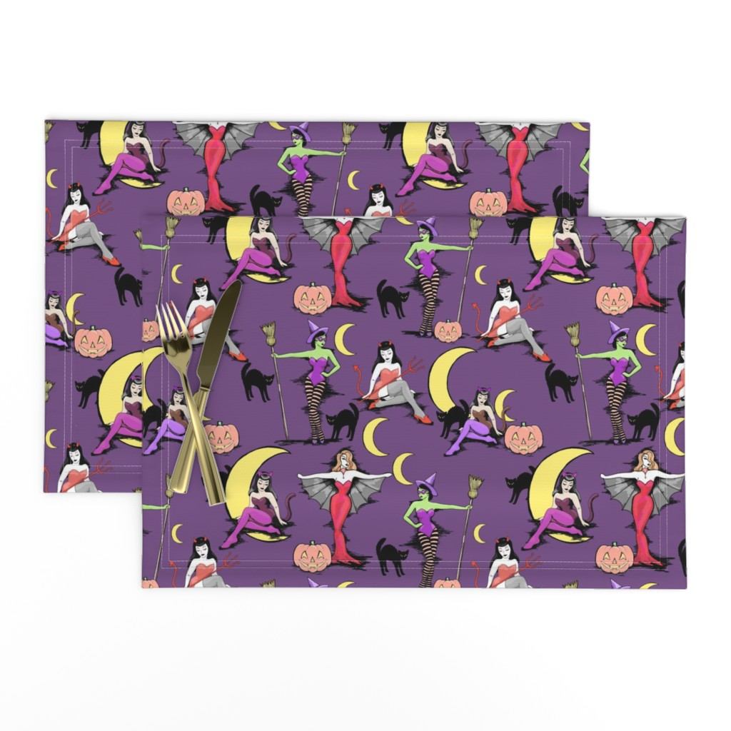 Lamona Cloth Placemats featuring Retro Halloween pinups in muted purple by beesocks
