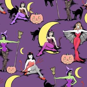Retro Halloween pinups in muted purple