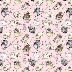 Cupid Pugs - pink