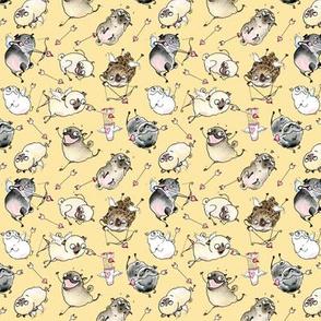 Cupid Pugs - yellow