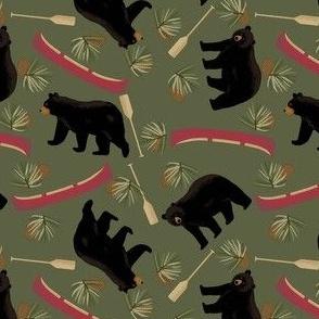 Black Bear Red Canoe Green